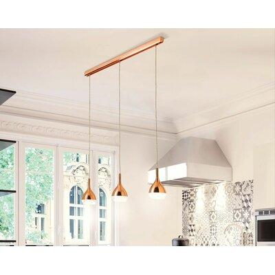 Thibodeaux 3-Light Kitchen Island Pendant Shade Color: Copper