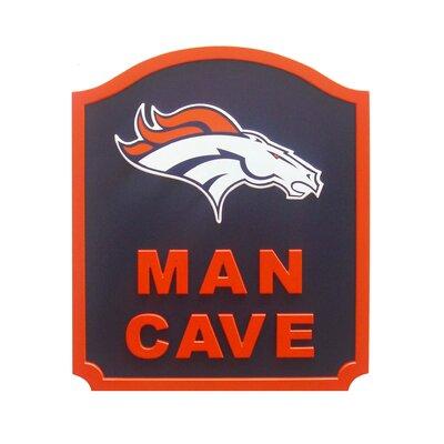 NFL 'Man Cave Shield' Graphic Art Print on Wood Team: Denver Broncos N0571-DEN