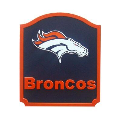 NFL 'Shield' Graphic Art Print on Wood Team: Denver Broncos N0574-DEN