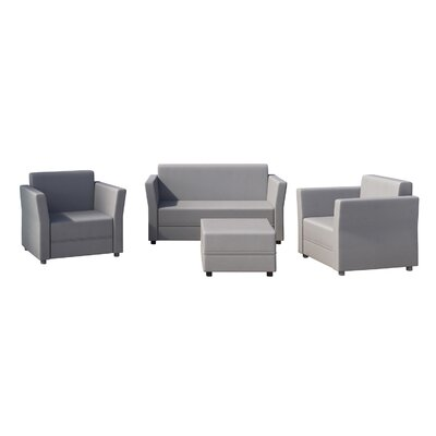 Verona 4 Piece Seating Group Set Finish: Light Gray