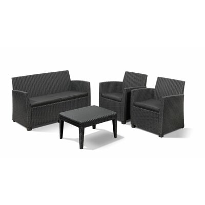 Venetta 4 Piece Lounge Seating Group with Cushion