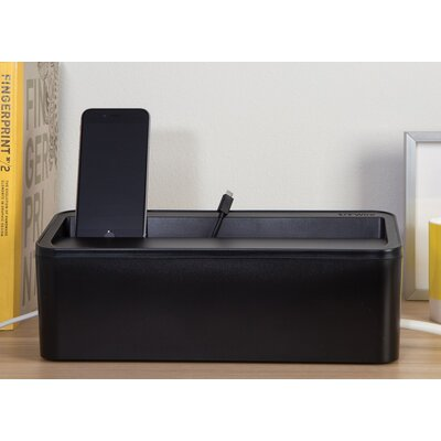 In-Box Charging Station and Power Strip Storage Color: Black