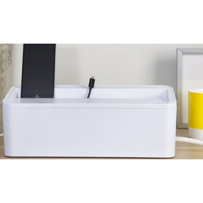 In-Box Charging Station and Power Strip Storage Color: White