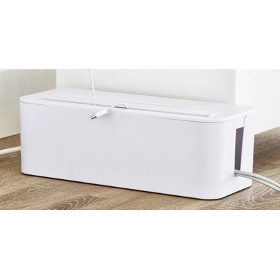 In-Box Cable Management Organizing Box for Under Desk Color: White