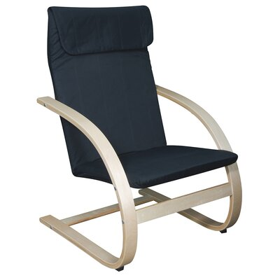 Mia Chair Finish: Natural, Upholstery: Black