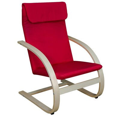 Mia Chair Finish: Natural, Upholstery: Red
