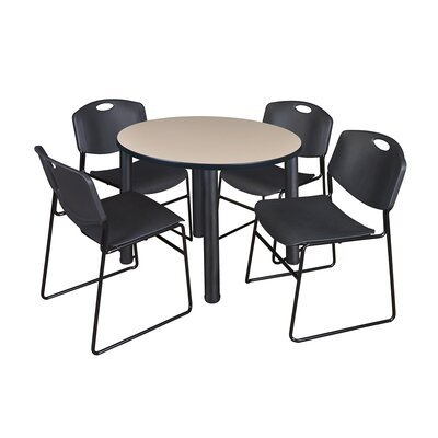 Kee Round Table with 4 Zeng Chairs Base Finish: Black, Size: 29 H x 36 W x 36 D, Top Finish: Beige