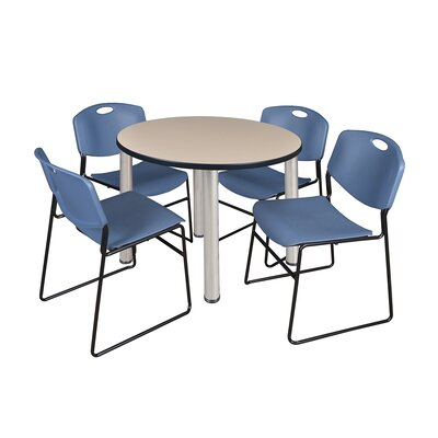Kee Round Table with 4 Zeng Chairs Base Finish: Chrome, Size: 29 H x 36 W x 36 D, Top Finish: Beige