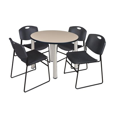Kee Round Table with 4 Zeng Chairs Size: 29 H x 36 W x 36 D, Top Finish: Beige, Base Finish: Chrome