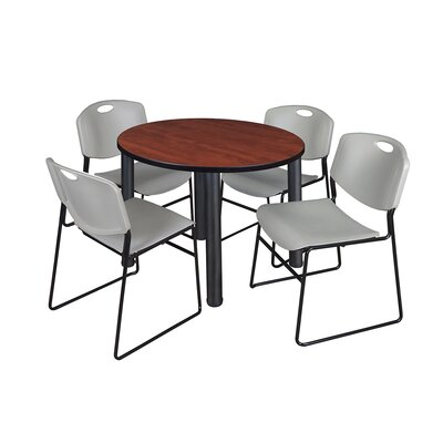 Kee Round Table with 4 Zeng Chairs Base Finish: Black, Size: 29 H x 36 W x 36 D, Top Finish: Cherry