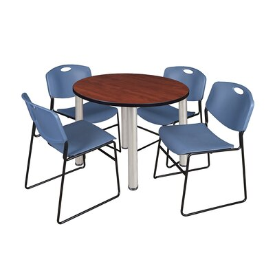 Kee Round Table with 4 Zeng Chairs Base Finish: Chrome, Size: 29 H x 36 W x 36 D, Top Finish: Cherry