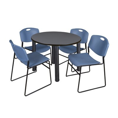 Kee Round Table with 4 Zeng Chairs Size: 29 H x 36 W x 36 D, Base Finish: Black, Top Finish: Grey