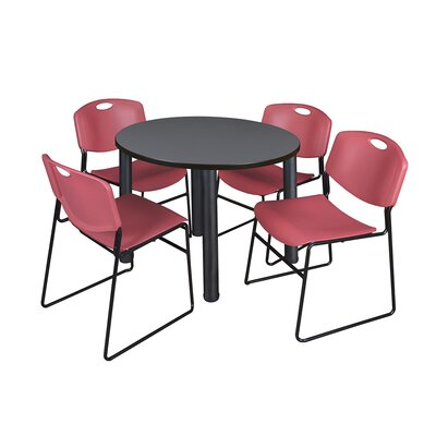 Kee Round Table with 4 Zeng Chairs Base Finish: Black, Size: 29 H x 36 W x 36 D, Top Finish: Grey