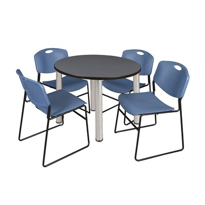 Kee Round Table with 4 Zeng Chairs Base Finish: Chrome, Size: 29 H x 36 W x 36 D, Top Finish: Grey