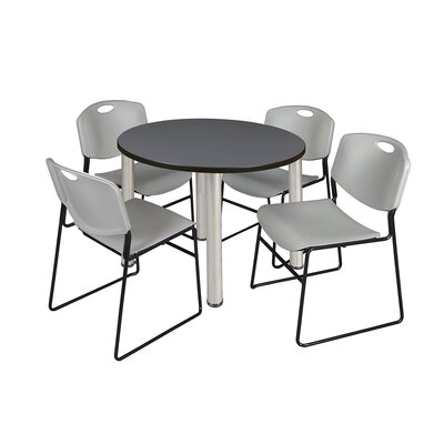 Kee Round Table with 4 Zeng Chairs Size: 29 H x 36 W x 36 D, Base Finish: Chrome, Top Finish: Grey