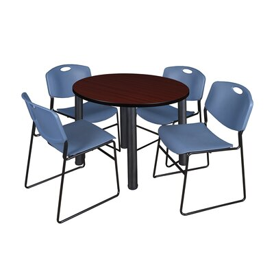 Kee Round Table with 4 Zeng Chairs Top Finish: Mahogany, Size: 29 H x 36 W x 36 D, Base Finish: Black