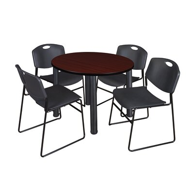 Kee Round Table with 4 Zeng Chairs Base Finish: Black, Top Finish: Mahogany, Size: 29 H x 36 W x 36 D
