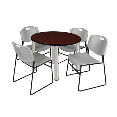 Kee Round Table with 4 Zeng Chairs Top Finish: Mahogany, Size: 29 H x 36 W x 36 D, Base Finish: Chrome