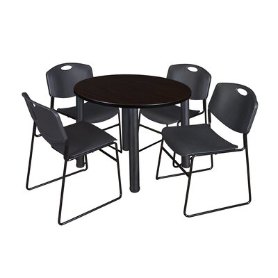 Kee Round Table with 4 Zeng Chairs Base Finish: Black, Size: 29 H x 36 W x 36 D, Top Finish: Mocha Walnut