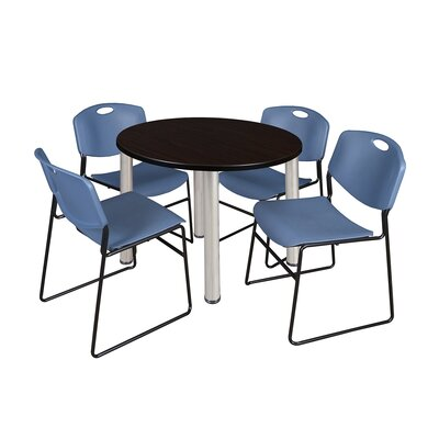 Kee Round Table with 4 Zeng Chairs Base Finish: Chrome, Size: 29 H x 36 W x 36 D, Top Finish: Mocha Walnut