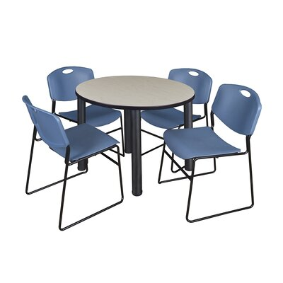 Kee Round Table with 4 Zeng Chairs Size: 29 H x 36 W x 36 D, Base Finish: Black, Top Finish: Maple