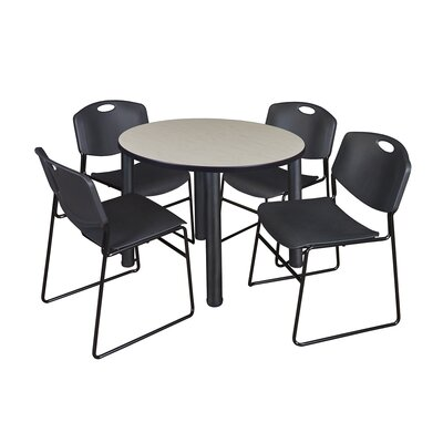 Kee Round Table with 4 Zeng Chairs Base Finish: Black, Size: 29 H x 36 W x 36 D, Top Finish: Maple