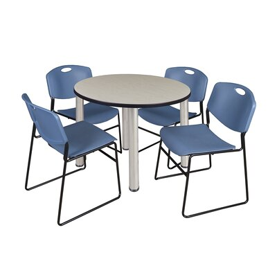 Kee Round Table with 4 Zeng Chairs Base Finish: Chrome, Size: 29 H x 36 W x 36 D, Top Finish: Maple