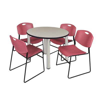 Kee Round Table with 4 Zeng Chairs Size: 29 H x 36 W x 36 D, Base Finish: Chrome, Top Finish: Maple