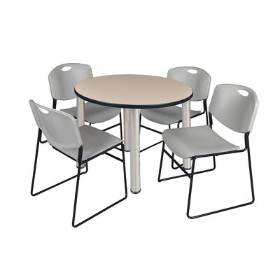 Kee Round Table with 4 Zeng Chairs Top Finish: Beige, Base Finish: Chrome, Size: 29 H x 42 W x 42 D