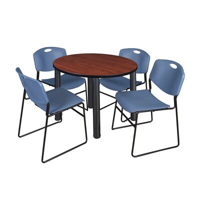 Kee Round Table with 4 Zeng Chairs Base Finish: Black, Top Finish: Cherry, Size: 29 H x 42 W x 42 D
