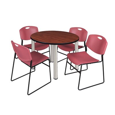 Kee Round Table with 4 Zeng Chairs Base Finish: Chrome, Size: 29 H x 42 W x 42 D, Top Finish: Cherry