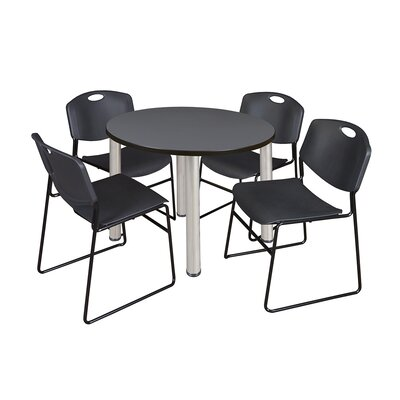 Kee Round Table with 4 Zeng Chairs Base Finish: Chrome, Top Finish: Grey, Size: 29 H x 42 W x 42 D