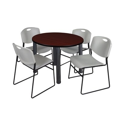 Kee Round Table with 4 Zeng Chairs Base Finish: Black, Top Finish: Mahogany, Size: 29 H x 42 W x 42 D