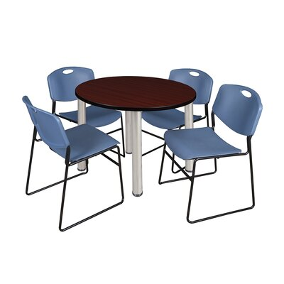 Kee Round Table with 4 Zeng Chairs Base Finish: Chrome, Top Finish: Mahogany, Size: 29 H x 42 W x 42 D