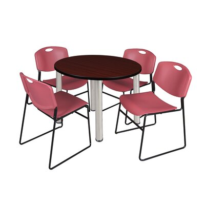 Kee Round Table with 4 Zeng Chairs Top Finish: Mahogany, Base Finish: Chrome, Size: 29 H x 42 W x 42 D