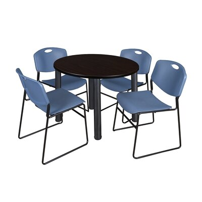Kee Round Table with 4 Zeng Chairs Base Finish: Black, Top Finish: Mocha Walnut, Size: 29 H x 42 W x 42 D