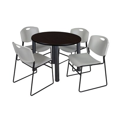 Kee Round Table with 4 Zeng Chairs Base Finish: Black, Size: 29 H x 42 W x 42 D, Top Finish: Mocha Walnut