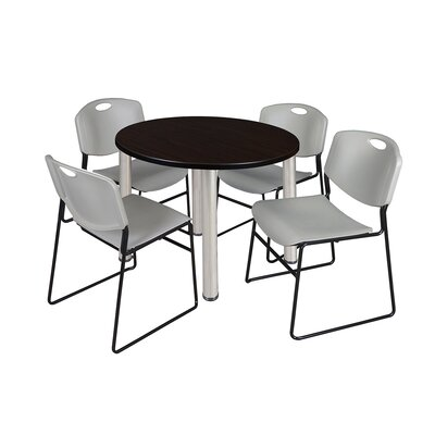 Kee Round Table with 4 Zeng Chairs Base Finish: Chrome, Size: 29 H x 42 W x 42 D, Top Finish: Mocha Walnut