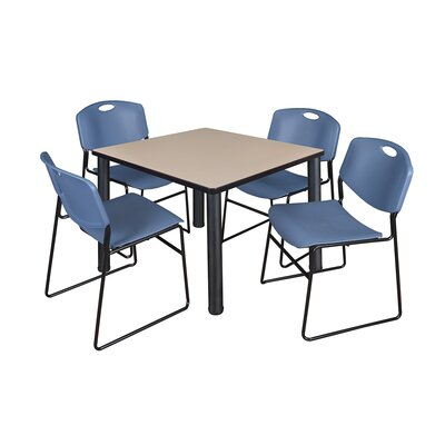Kee Square Table with 4 Zeng Chairs Base Finish: Black, Top Finish: Beige, Size: 29 H x 36 W x 36 D