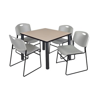 Kee Square Table Base Finish: Black, Size: 29 H x 36 W x 36 D, Top Finish: Beige