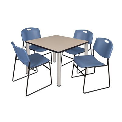 Kee Square Table with 4 Zeng Chairs Top Finish: Beige, Size: 29 H x 36 W x 36 D, Base Finish: Chrome