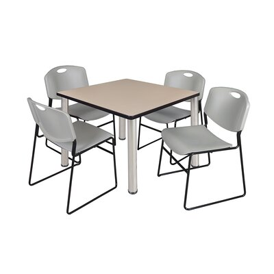 Kee Square Table Size: 29 H x 36 W x 36 D, Base Finish: Chrome, Top Finish: Beige