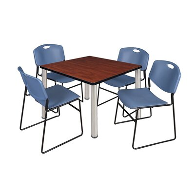 Kee Square Table with 4 Zeng Chairs Size: 29 H x 36 W x 36 D, Base Finish: Chrome, Top Finish: Cherry