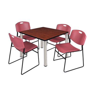 Kee Square Table Top Finish: Cherry, Size: 29 H x 36 W x 36 D, Base Finish: Chrome