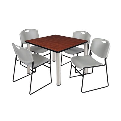 Kee Square Table Top Finish: Cherry, Size: 29 H x 36 W x 36 D, Base Finish: Chrome