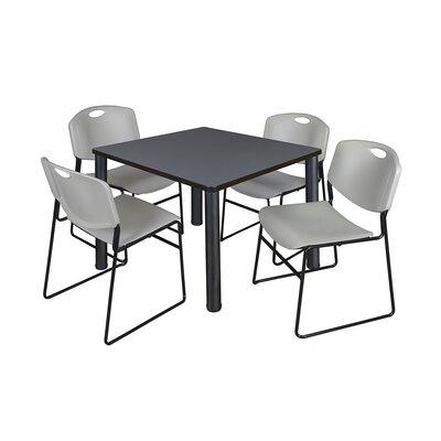 Kee Square Table Base Finish: Black, Size: 29 H x 36 W x 36 D, Top Finish: Grey