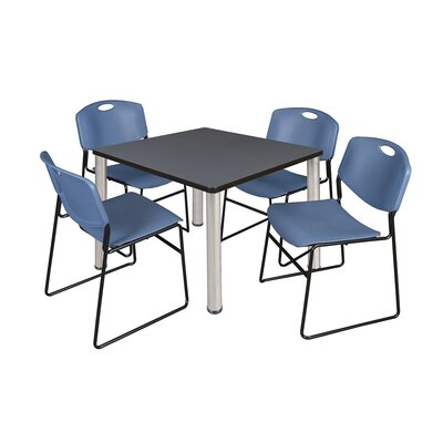 Kee Square Table with 4 Zeng Chairs Size: 29 H x 36 W x 36 D, Base Finish: Chrome, Top Finish: Grey