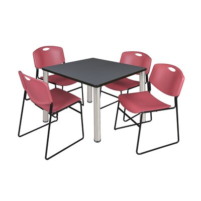 Kee Square Table Size: 29 H x 36 W x 36 D, Base Finish: Chrome, Top Finish: Grey