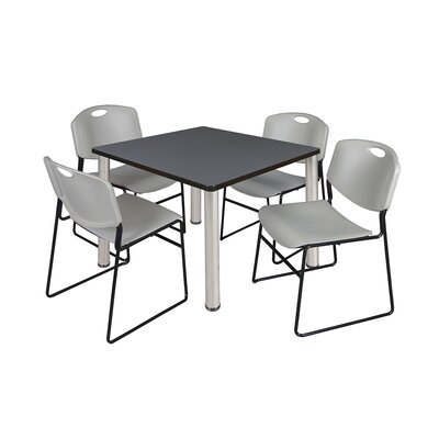 Kee Square Table Size: 29 H x 36 W x 36 D, Base Finish: Chrome, Top Finish: Grey