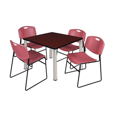 Kee Square Table Size: 29 H x 36 W x 36 D, Base Finish: Chrome, Top Finish: Mahogany